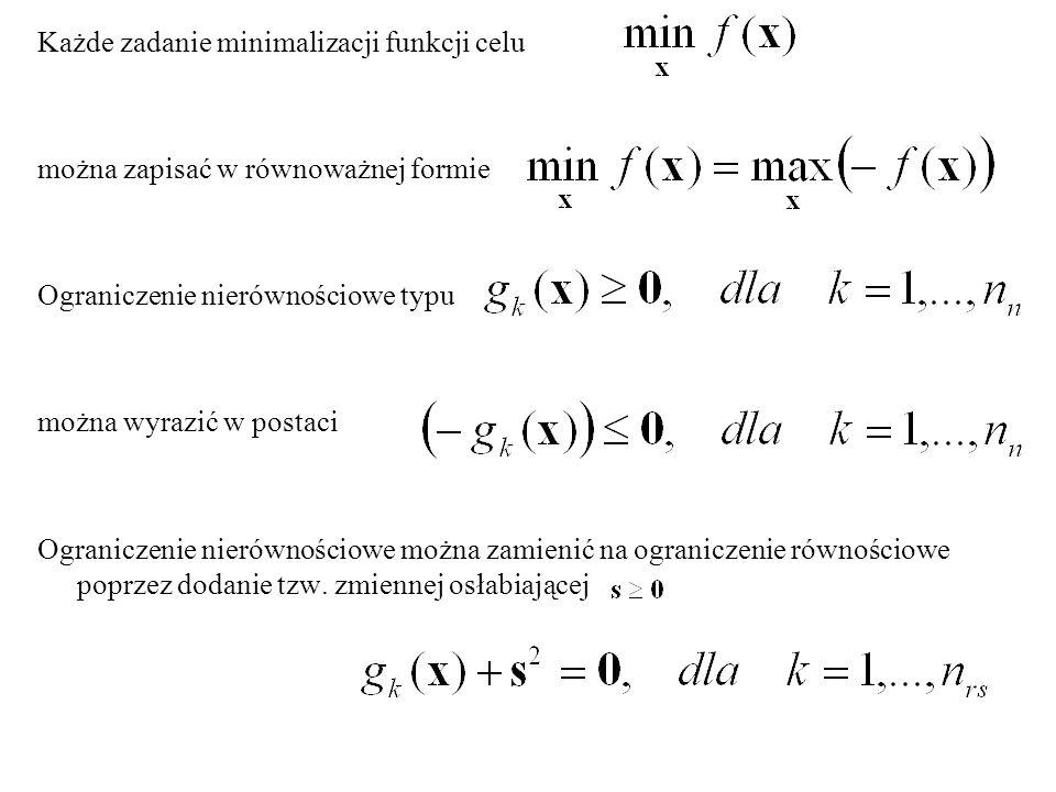 Zadanie optymalizacji zbiór zmiennych decyzyjnych zadania optymalizacji n=1,...,N ilość zmiennych zadania funkcja celu ograniczenia równościowe ograniczenia nierównościowe