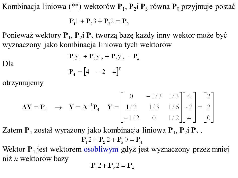 Kombinacja liniowa (**) wektorów P 1, P 2 i P 3 równa P 0 przyjmuje postać Ponieważ wektory P 1, P 2 i P 3 tworzą bazę każdy inny wektor może być wyzn