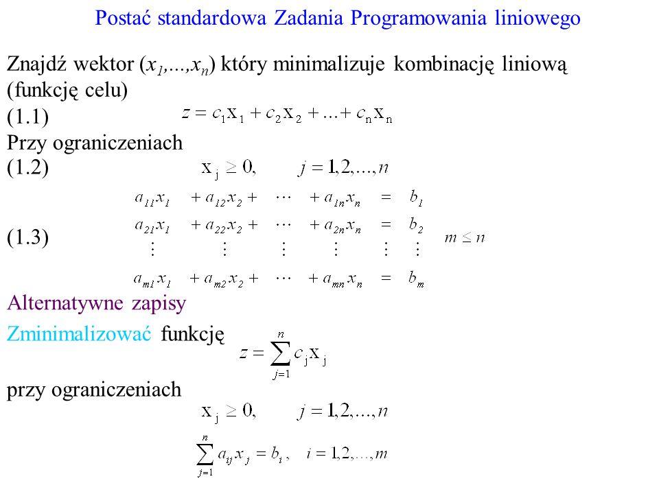 Postać standardowa Zadania Programowania liniowego Alternatywne zapisy Znajdź wektor (x 1,...,x n ) który minimalizuje kombinację liniową (funkcję cel