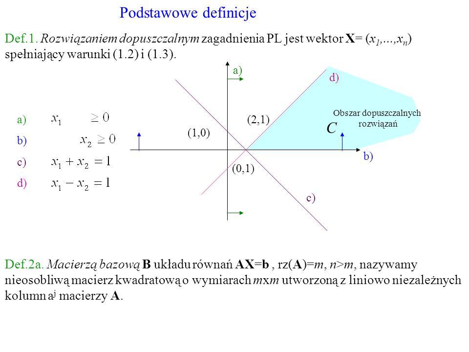 a) b) c) d) (0,1) (1,0) (2,1) b) a) c) d) C Obszar dopuszczalnych rozwiązań Podstawowe definicje Def.1. Rozwiązaniem dopuszczalnym zagadnienia PL jest