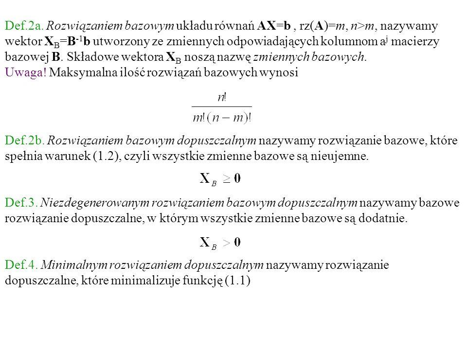 Def.2a. Rozwiązaniem bazowym układu równań AX=b, rz(A)=m, n>m, nazywamy wektor X B =B -1 b utworzony ze zmiennych odpowiadających kolumnom a j macierz