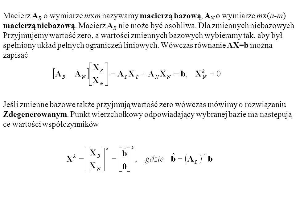 Macierz A B o wymiarze mxm nazywamy macierzą bazową, A N o wymiarze mx(n-m) macierzą niebazową. Macierz A B nie może być osobliwa. Dla zmiennych nieba