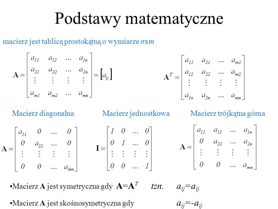 Podstawy matematyczne macierz jest tablicą prostokątną o wymiarze nxm Macierz diagonalnaMacierz jednostkowaMacierz trójkątna górna Macierz A jest syme