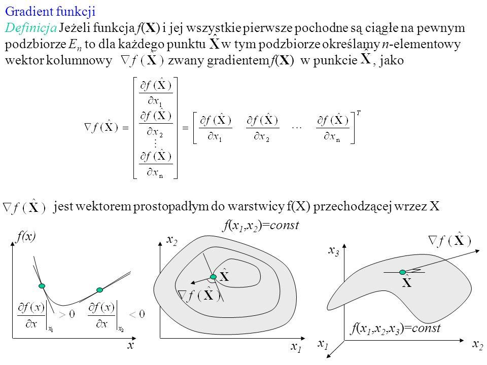 Gradient funkcji Definicja Jeżeli funkcja f(X) i jej wszystkie pierwsze pochodne są ciągłe na pewnym podzbiorze E n to dla każdego punktu w tym podzbi