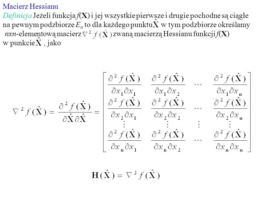 Macierz Hessianu Definicja Jeżeli funkcja f(X) i jej wszystkie pierwsze i drugie pochodne są ciągłe na pewnym podzbiorze E n to dla każdego punktu w t