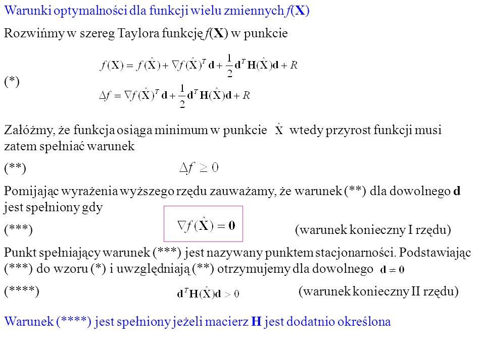 Warunki optymalności dla funkcji wielu zmiennych f(X) Rozwińmy w szereg Taylora funkcję f(X) w punkcie (*) Załóżmy, że funkcja osiąga minimum w punkci