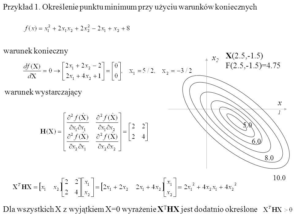 Przykład 1. Określenie punktu minimum przy użyciu warunków koniecznych warunek konieczny Dla wszystkich X z wyjątkiem X=0 wyrażenie X T HX jest dodatn