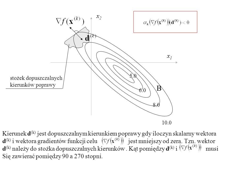 Kierunek d (k) jest dopuszczalnym kierunkiem poprawy gdy iloczyn skalarny wektora d (k) i wektora gradientów funkcji celu jest mniejszy od zera. Tzn.