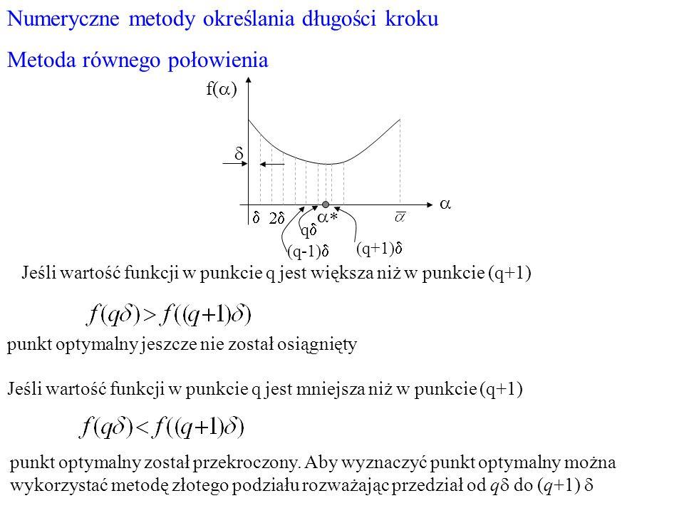 Numeryczne metody określania długości kroku Metoda równego połowienia f( ) q (q-1) (q+1) Jeśli wartość funkcji w punkcie q jest większa niż w punkcie