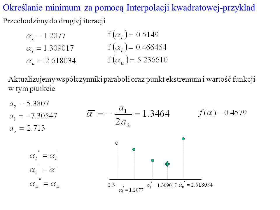 Określanie minimum za pomocą Interpolacji kwadratowej-przykład Przechodzimy do drugiej iteracji Aktualizujemy współczynniki paraboli oraz punkt ekstre
