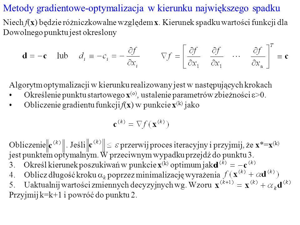 Metody gradientowe-optymalizacja w kierunku największego spadku Niech f(x) będzie różniczkowalne względem x. Kierunek spadku wartości funkcji dla Dowo