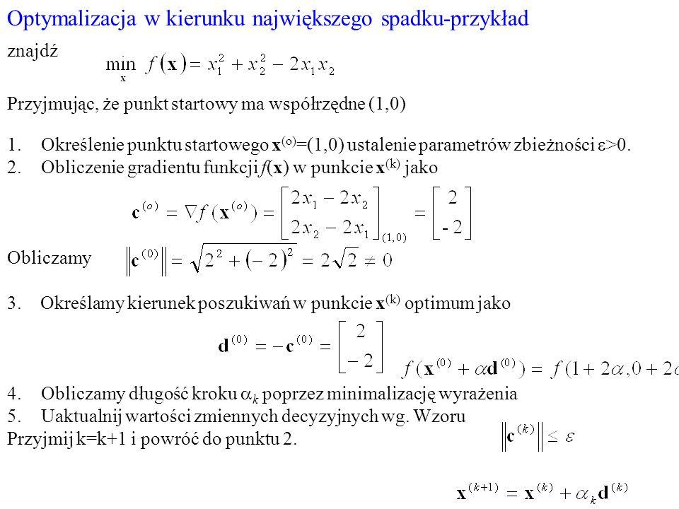 Optymalizacja w kierunku największego spadku-przykład znajdź Przyjmując, że punkt startowy ma współrzędne (1,0) 1.Określenie punktu startowego x (o) =