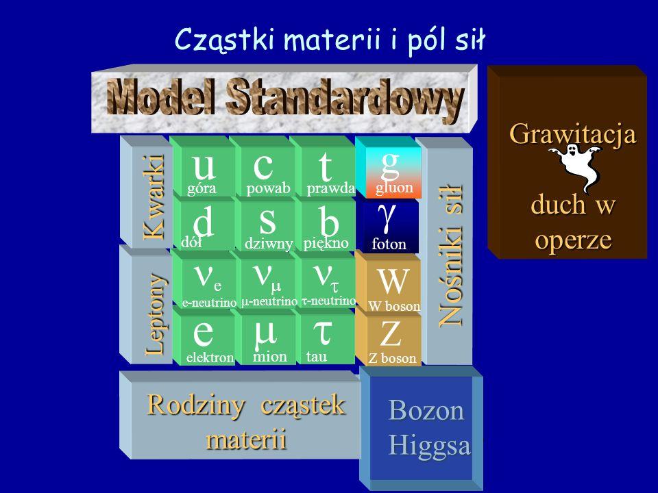 Grawitacja Grawitacja - duch w operze Bozon Higgsa? Nośniki sił Z Z boson W W boson foton g gluon tau -neutrino b piękno t prawda III mion -neutrino s