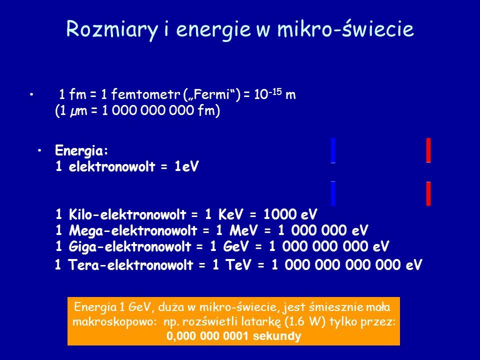 Rozmiary i energie w mikro-świecie 1 fm = 1 femtometr (Fermi) = 10 -15 m (1 µm = 1 000 000 000 fm) Energia: 1 elektronowolt = 1eV 1 Kilo-elektronowolt