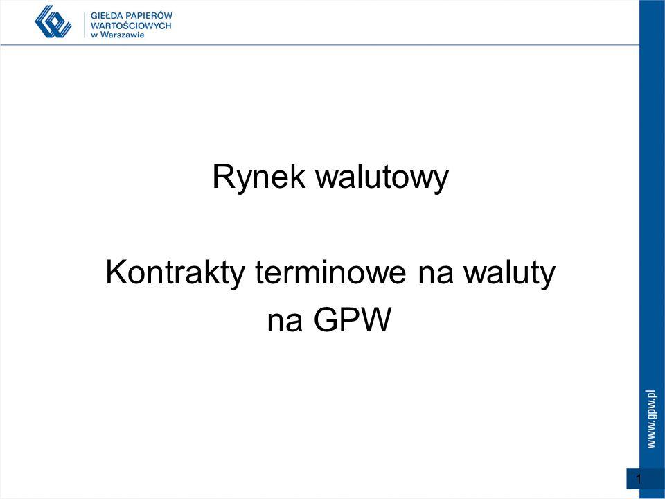 Rynek walutowy Kontrakty terminowe na waluty na GPW 1