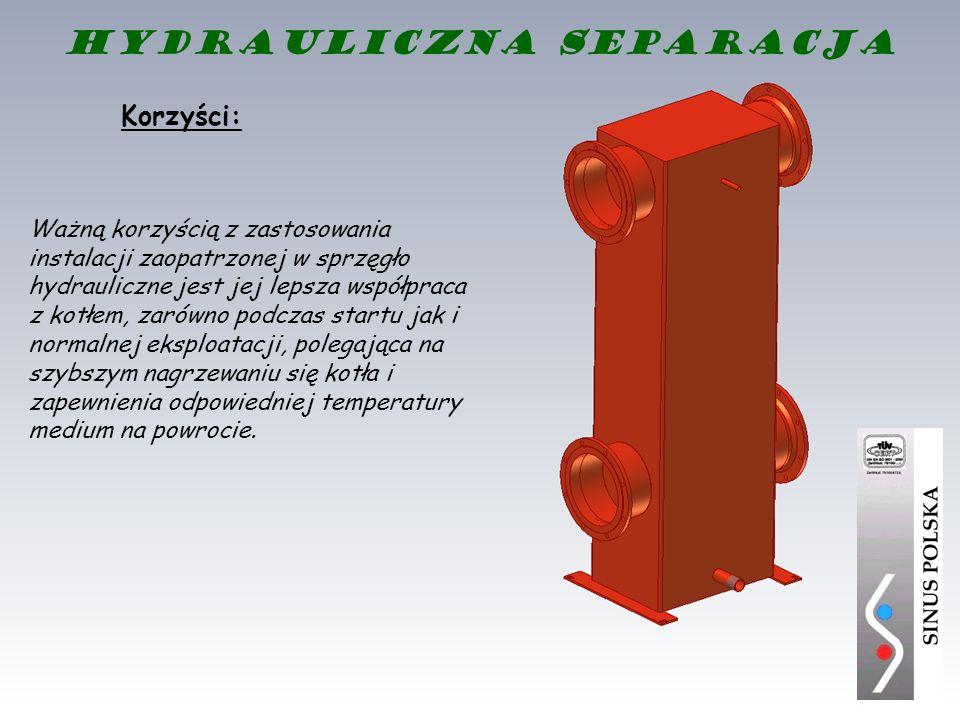 Korzyści: Ważną korzyścią z zastosowania instalacji zaopatrzonej w sprzęgło hydrauliczne jest jej lepsza współpraca z kotłem, zarówno podczas startu j