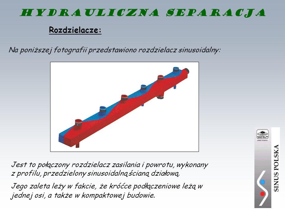 Rozdzielacze: Na poniższej fotografii przedstawiono rozdzielacz sinusoidalny: Jest to połączony rozdzielacz zasilania i powrotu, wykonany z profilu, p