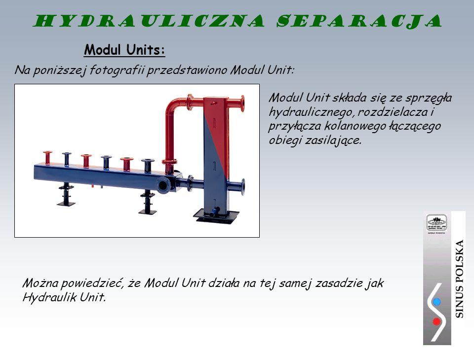 Modul Units: Modul Unit składa się ze sprzęgła hydraulicznego, rozdzielacza i przyłącza kolanowego łączącego obiegi zasilające. Można powiedzieć, że M