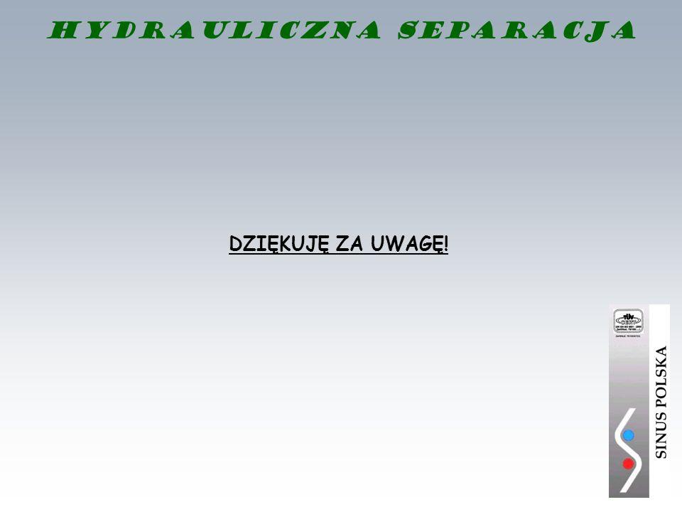 DZIĘKUJĘ ZA UWAGĘ! Hydrauliczna separacja