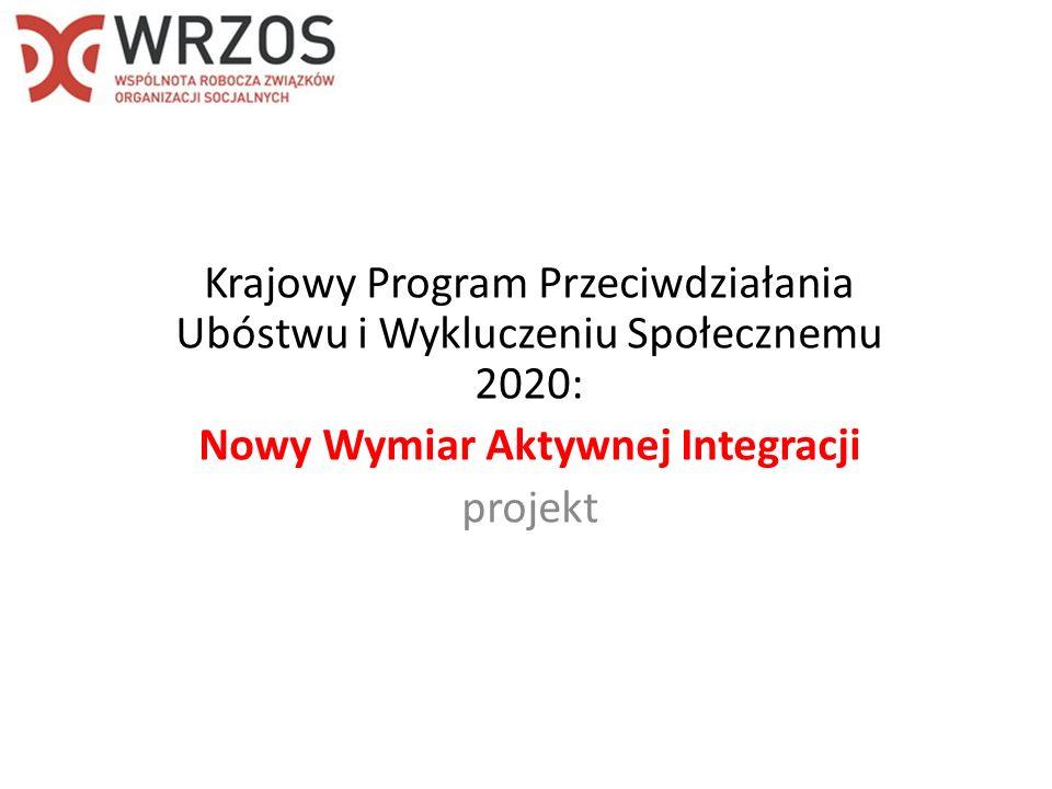 Krajowy Program Przeciwdziałania Ubóstwu i Wykluczeniu Społecznemu 2020: Nowy Wymiar Aktywnej Integracji projekt