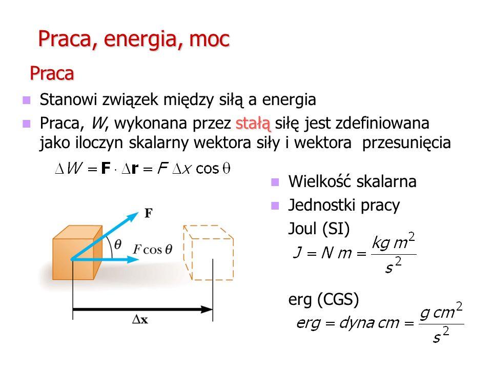 Praca, energia, moc Stanowi związek między siłą a energia stałą Praca, W, wykonana przez stałą siłę jest zdefiniowana jako iloczyn skalarny wektora si