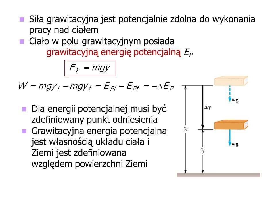Siła grawitacyjna jest potencjalnie zdolna do wykonania pracy nad ciałem Ciało w polu grawitacyjnym posiada grawitacyjną energię potencjalną E P Dla e