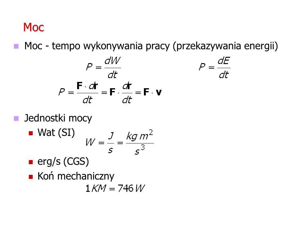 Moc Moc - tempo wykonywania pracy (przekazywania energii) Jednostki mocy Wat (SI) erg/s (CGS) Koń mechaniczny