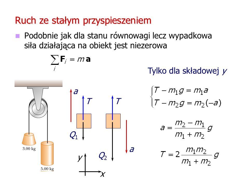 Ruch ze stałym przyspieszeniem Podobnie jak dla stanu równowagi lecz wypadkowa siła działająca na obiekt jest niezerowa a TT Q1Q1 Q2Q2 a x y Tylko dla