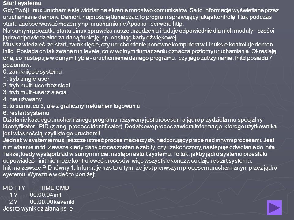 Start systemu Gdy Twój Linux uruchamia się widzisz na ekranie mnóstwo komunikatów. Są to informacje wyświetlane przez uruchamiane demony. Demon, najpr