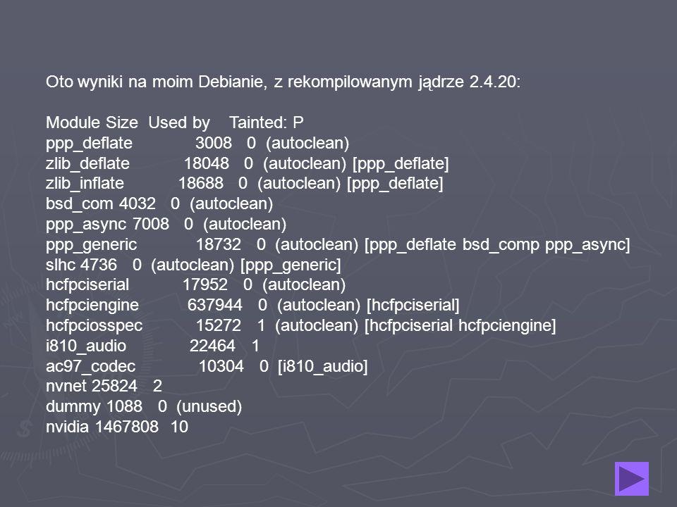 Oto wyniki na moim Debianie, z rekompilowanym jądrze 2.4.20: Module Size Used by Tainted: P ppp_deflate 3008 0 (autoclean) zlib_deflate 18048 0 (autoc
