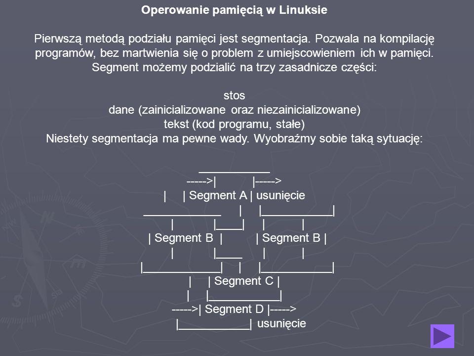 Operowanie pamięcią w Linuksie Pierwszą metodą podziału pamięci jest segmentacja. Pozwala na kompilację programów, bez martwienia się o problem z umie