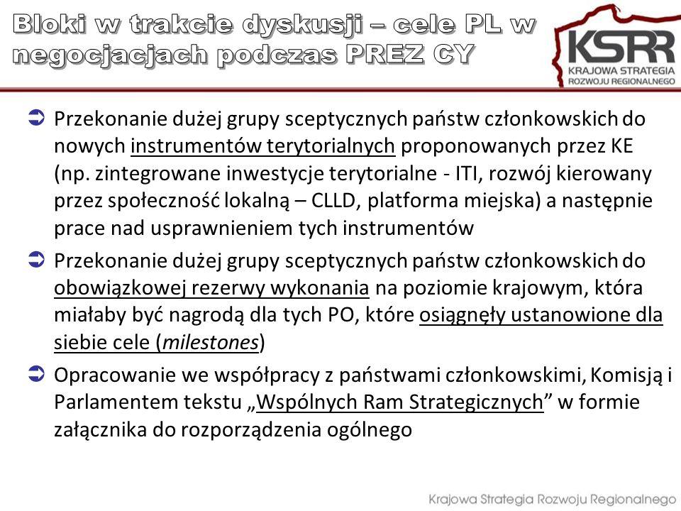 Przekonanie dużej grupy sceptycznych państw członkowskich do nowych instrumentów terytorialnych proponowanych przez KE (np. zintegrowane inwestycje te