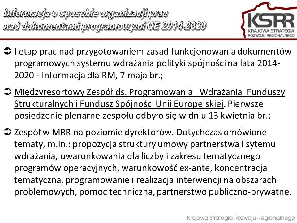 I etap prac nad przygotowaniem zasad funkcjonowania dokumentów programowych systemu wdrażania polityki spójności na lata 2014- 2020 - Informacja dla R