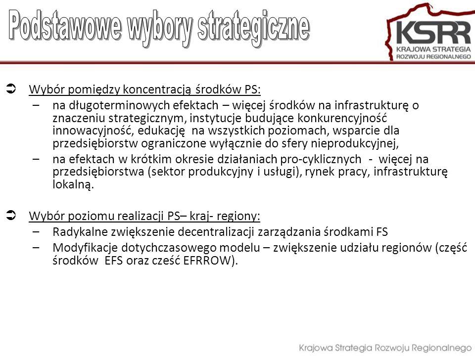 Wybór pomiędzy koncentracją środków PS: –na długoterminowych efektach – więcej środków na infrastrukturę o znaczeniu strategicznym, instytucje budując