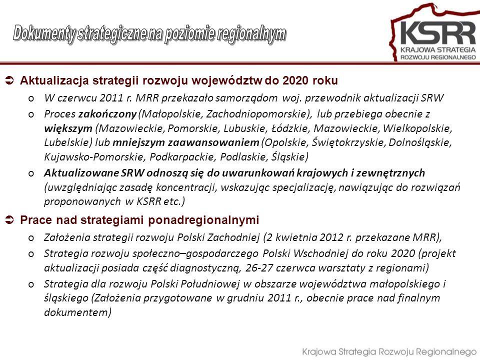 Aktualizacja strategii rozwoju województw do 2020 roku oW czerwcu 2011 r. MRR przekazało samorządom woj. przewodnik aktualizacji SRW oProces zakończon