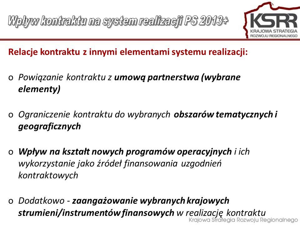Relacje kontraktu z innymi elementami systemu realizacji: oPowiązanie kontraktu z umową partnerstwa (wybrane elementy) oOgraniczenie kontraktu do wybr