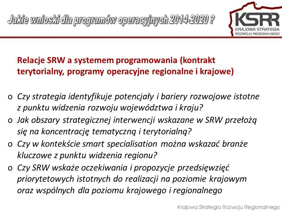 Relacje SRW a systemem programowania (kontrakt terytorialny, programy operacyjne regionalne i krajowe) oCzy strategia identyfikuje potencjały i barier