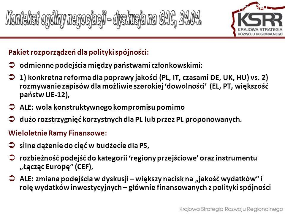 Pakiet rozporządzeń dla Polityki Spójności największe zbieżności ze stanowiskiem PL: programowanie, duże projekty, ewaluacja & monitorowanie, warunkowość ex- ante Mniejsze poparcie w Radzie, próby szukania poparcia wśród posłów do PE dla stanowiska PL w: uproszczenia systemu zarządzania i kontroli, wielofunduszowość na poziomie operacyjnym;