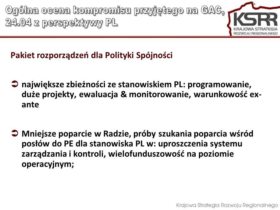 Pakiet rozporządzeń dla Polityki Spójności największe zbieżności ze stanowiskiem PL: programowanie, duże projekty, ewaluacja & monitorowanie, warunkow