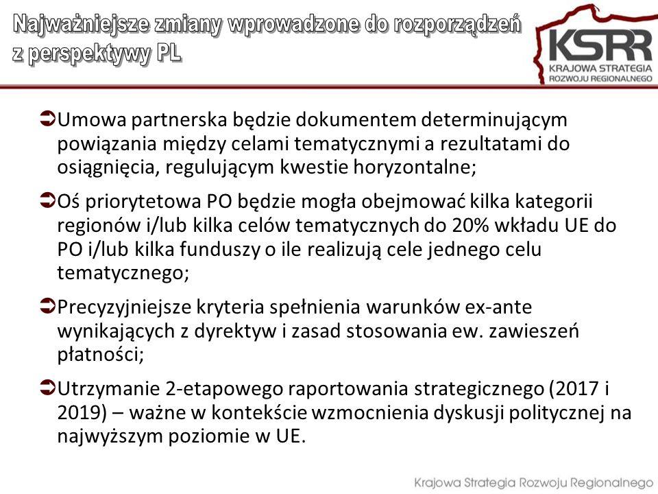 Umowa partnerska będzie dokumentem determinującym powiązania między celami tematycznymi a rezultatami do osiągnięcia, regulującym kwestie horyzontalne