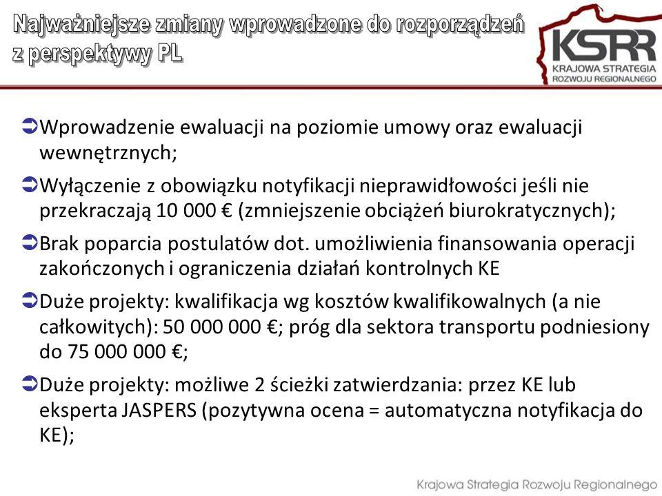 Wprowadzenie ewaluacji na poziomie umowy oraz ewaluacji wewnętrznych; Wyłączenie z obowiązku notyfikacji nieprawidłowości jeśli nie przekraczają 10 00