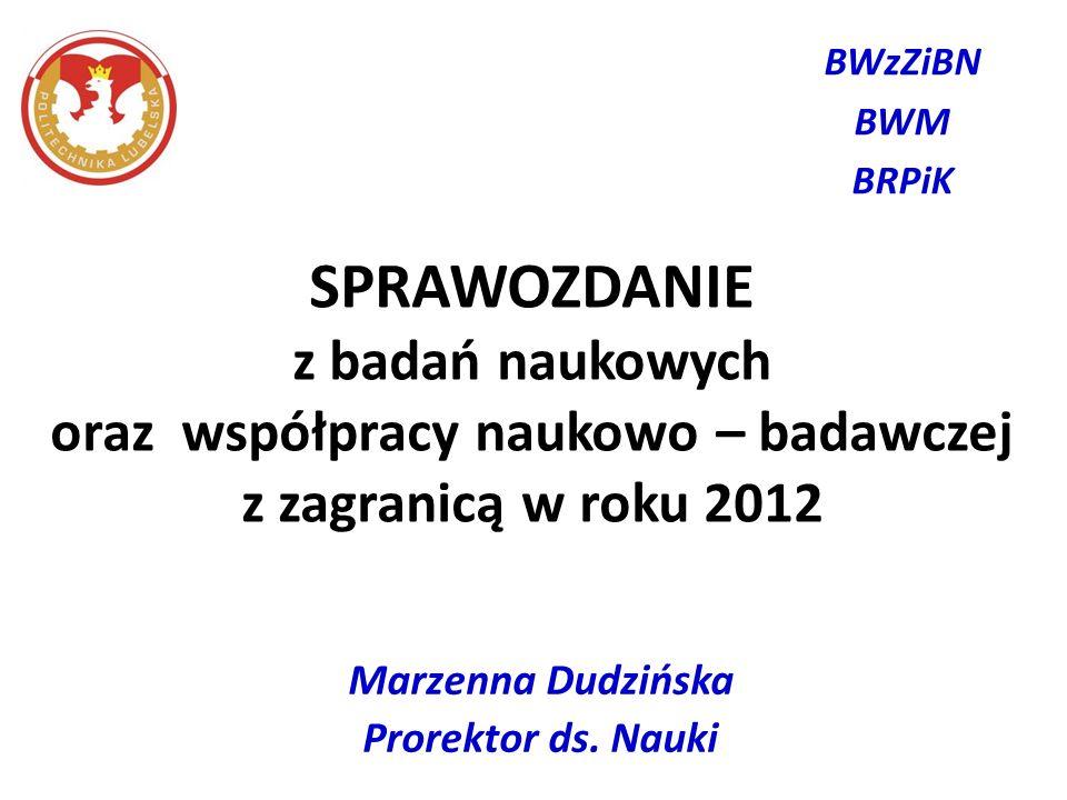 SPRAWOZDANIE z badań naukowych oraz współpracy naukowo – badawczej z zagranicą w roku 2012 Marzenna Dudzińska Prorektor ds. Nauki BWzZiBN BWM BRPiK