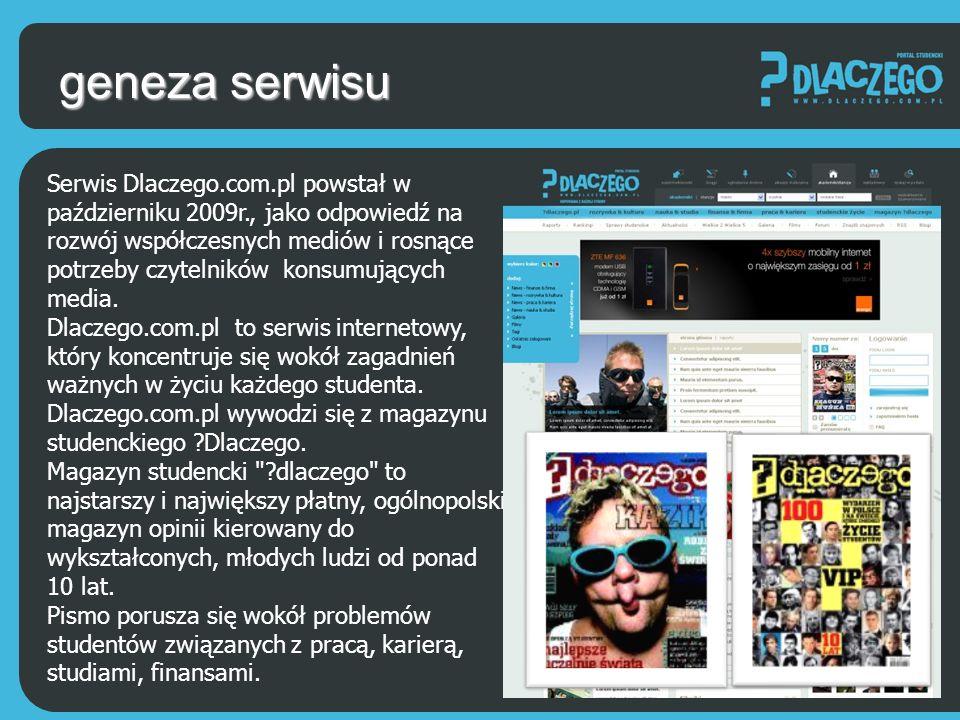grupa docelowa Grupą docelową serwisu Dlaczego.com.pl stanowią studenci, absolwenci uczelni wyższych i uczniowie którzy dopiero planują swoją edukację na szczeblu akademickim.
