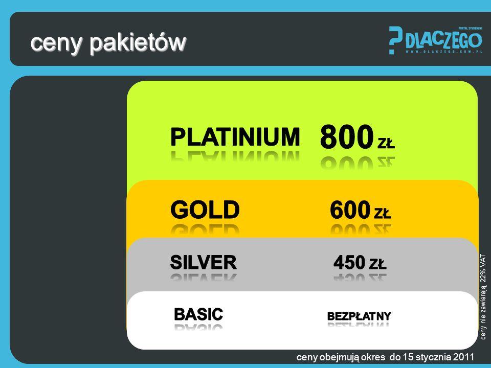 ceny pakietów ceny obejmują okres do 15 stycznia 2011 ceny nie zawierają 22% VAT ceny pakietów