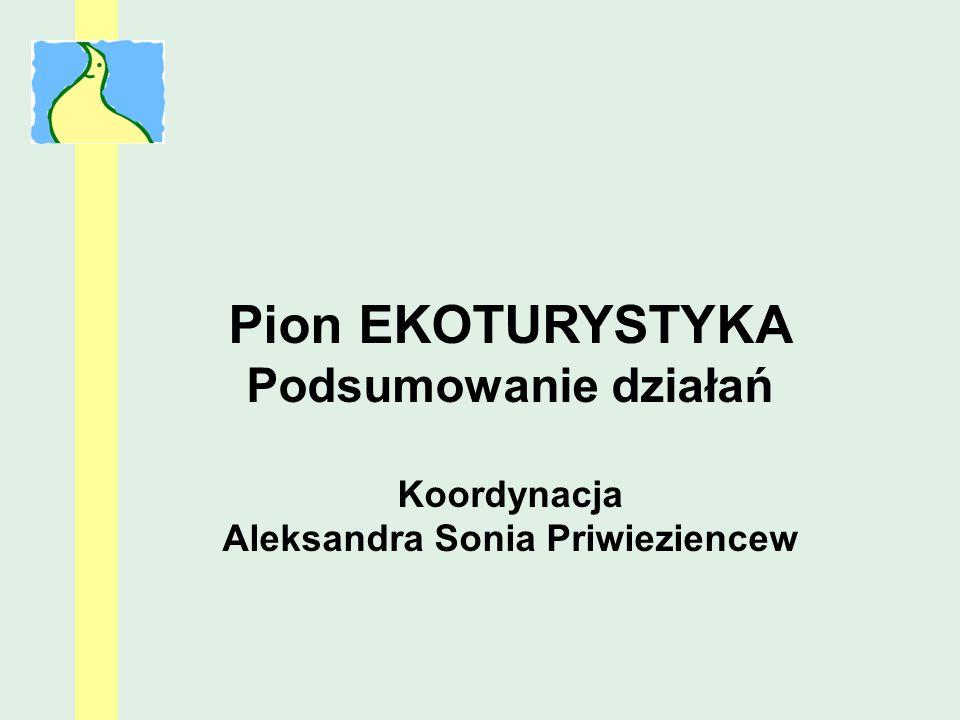 Pion EKOTURYSTYKA Podsumowanie działań Koordynacja Aleksandra Sonia Priwieziencew