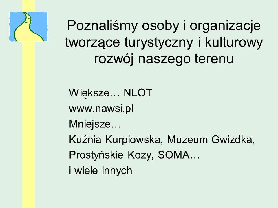 Poznaliśmy osoby i organizacje tworzące turystyczny i kulturowy rozwój naszego terenu Większe… NLOT www.nawsi.pl Mniejsze… Kuźnia Kurpiowska, Muzeum G