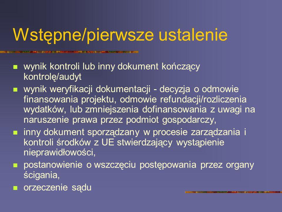 Wstępne/pierwsze ustalenie wynik kontroli lub inny dokument kończący kontrolę/audyt wynik weryfikacji dokumentacji - decyzja o odmowie finansowania pr