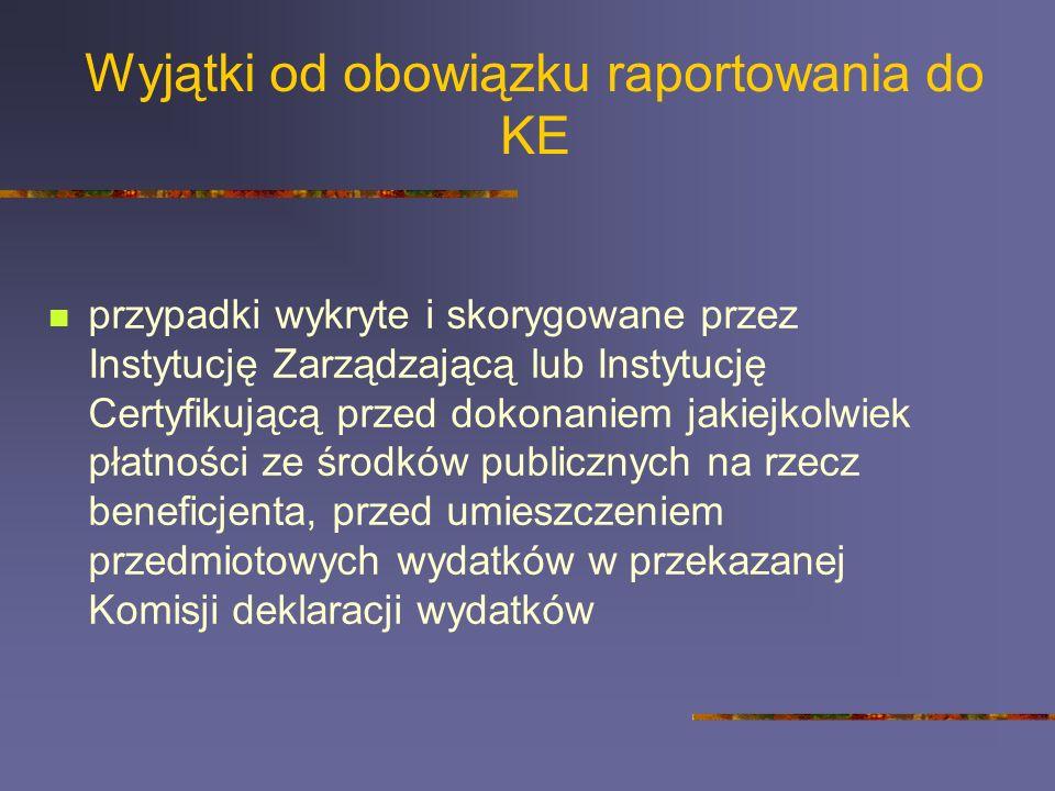 Wyjątki od obowiązku raportowania do KE przypadki wykryte i skorygowane przez Instytucję Zarządzającą lub Instytucję Certyfikującą przed dokonaniem ja