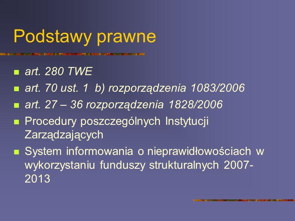 Podstawy prawne art. 280 TWE art. 70 ust. 1 b) rozporządzenia 1083/2006 art. 27 – 36 rozporządzenia 1828/2006 Procedury poszczególnych Instytucji Zarz
