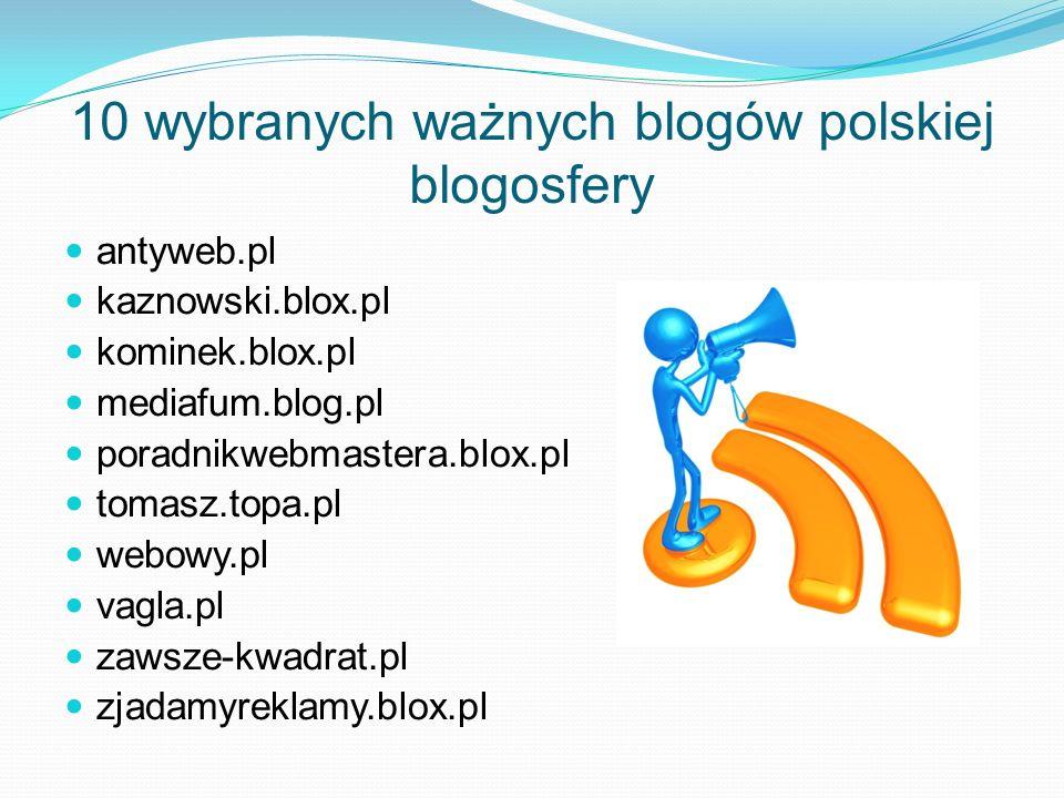 10 wybranych ważnych blogów polskiej blogosfery antyweb.pl kaznowski.blox.pl kominek.blox.pl mediafum.blog.pl poradnikwebmastera.blox.pl tomasz.topa.p